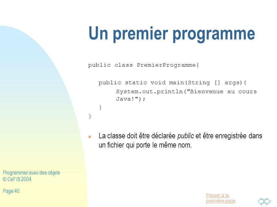 30/03/2017 Un premier programme. public class PremierProgramme{ public static void main(String [] args){